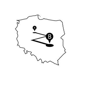 Mapka Polski wskazująca na trasę międzymiastową