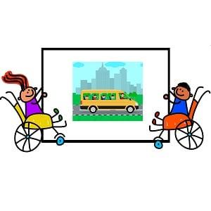Rysunek wskazujący dzieci na wózkach inwalidzkich jadących busem